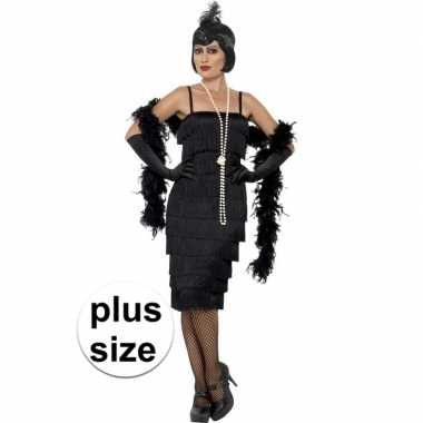 Grote maten zwarte jaren 20 flapper jurk lang voor damescarnavalskled