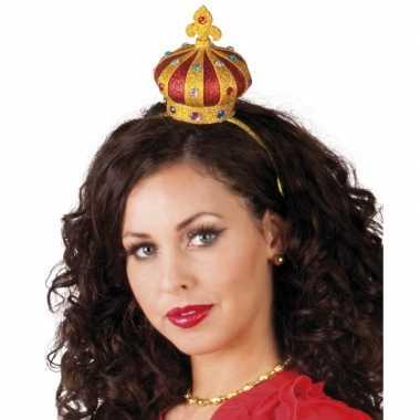 Haarband met gouden kroontjecarnavalskleding