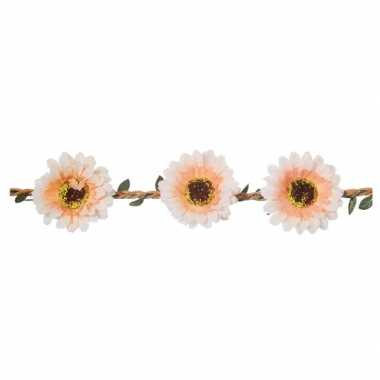 Haarband met wit/zalmroze bloemen voor damescarnavalskleding