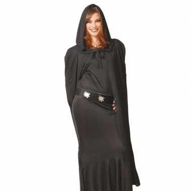 Halloween cape zwart met capuchon 135 cm carnavalskleding