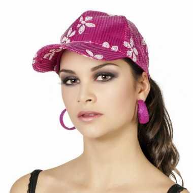 Hawaiiaanse pet roze voor dames carnavalskleding