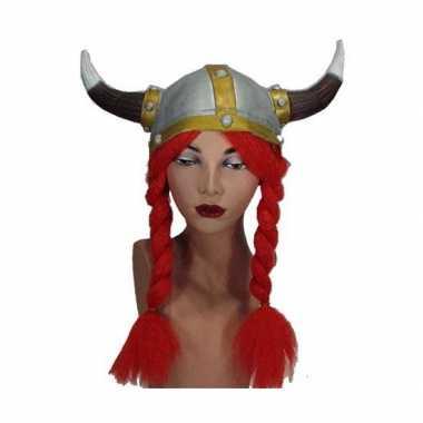 Helmen viking met rode vlechtencarnavalskleding