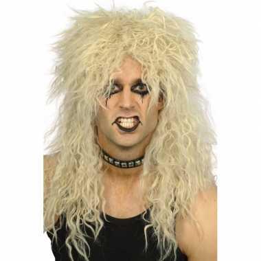 Heren krulletjes pruik blond carnavalskleding