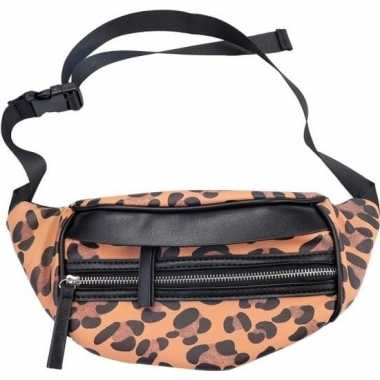 Hip heuptasje/fanny pack/schoudertasje zwart/bruin luipaardprint/pant