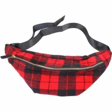 Hip heuptasje/fanny pack/schoudertasje zwart/rood schotse ruiten prin