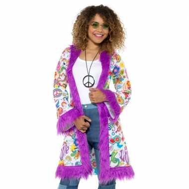Hippie groovy pluche jas voor damescarnavalskleding