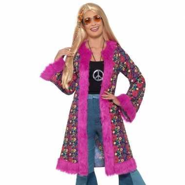 Hippie peace pluche jas voor damescarnavalskleding