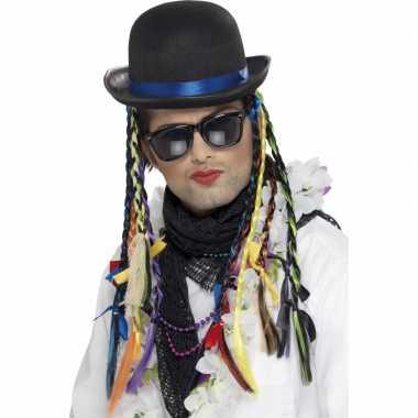Hoed met vlechten karma club carnavalskleding