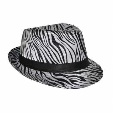Hoed met zebra print carnavalskleding