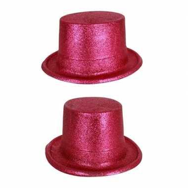 Hoge hoed fuchsia roze met glitterscarnavalskleding