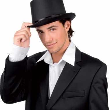 Hoge hoed zwart met satijn lookcarnavalskleding