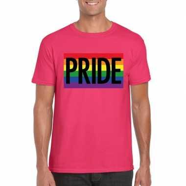 Homo shirt pride regenboog vlag heren rozecarnavalskleding