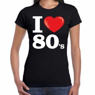 I love shirts voor dames zwart 80s bedrukkingcarnavalskleding