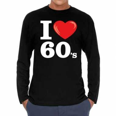 I love shirts voor heren zwart 60s bedrukkingcarnavalskleding