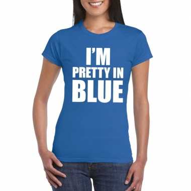 I'm pretty in blue t-shirt blauw damescarnavalskleding