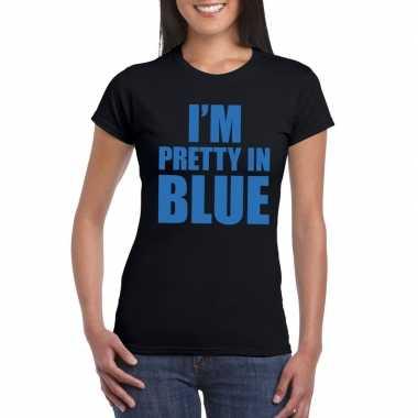 I'm pretty in blue t-shirt zwart damescarnavalskleding