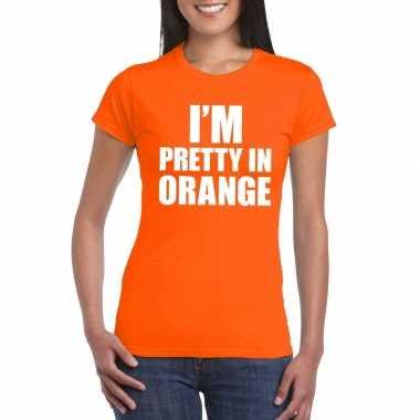 I'm pretty in orange t-shirt oranje damescarnavalskleding