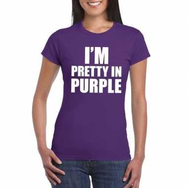 I'm pretty in purple t-shirt paars damescarnavalskleding