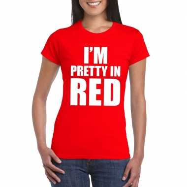 I'm pretty in red t-shirt rood damescarnavalskleding