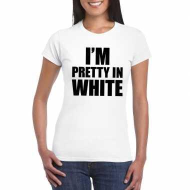 I'm pretty in white t-shirt wit damescarnavalskleding