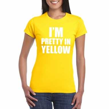I'm pretty in yellow t-shirt geel damescarnavalskleding