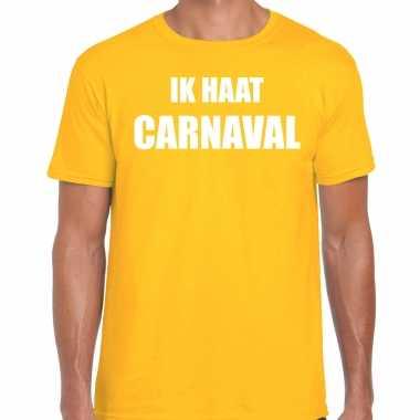 Ik haat carnaval verkleed t-shirt / outfit geel voor herencarnavalskleding