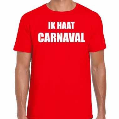 Ik haat carnaval verkleed t-shirt / outfit rood voor herencarnavalskleding