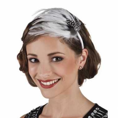 Jaren 20 haar accessoire met witte verencarnavalskleding