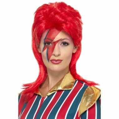 Jaren 70 popster pruik rood david carnavalskleding