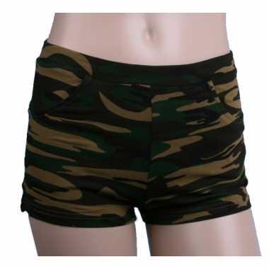Katoenen camouflage hotpants hoge taillecarnavalskleding