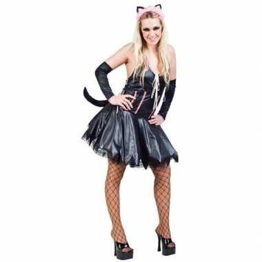 Katten poezen jurk met accessoires voor dames carnavalskleding
