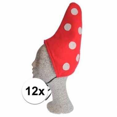 Kinder kabouter mutsje rood met witte stippen 12xcarnavalskleding