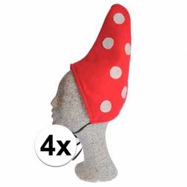 Kinder kabouter mutsje rood met witte stippen 4xcarnavalskleding