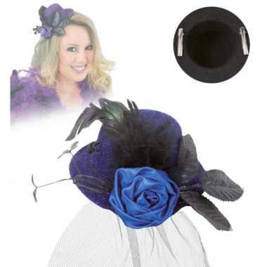 Klein hoedje blauw met rooscarnavalskleding