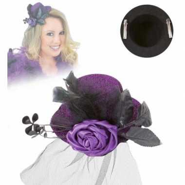 Klein hoedje paars met rooscarnavalskleding