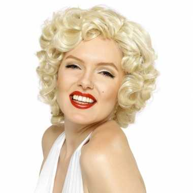 Korte blonde pruik met krullen carnavalskleding