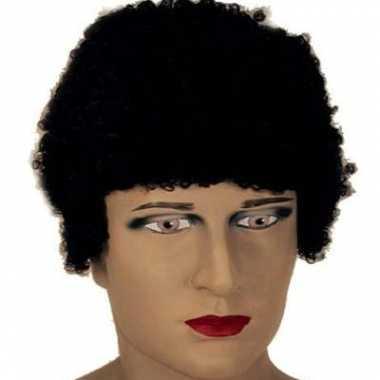 Korte zwarte afropruik voor heren carnavalskleding