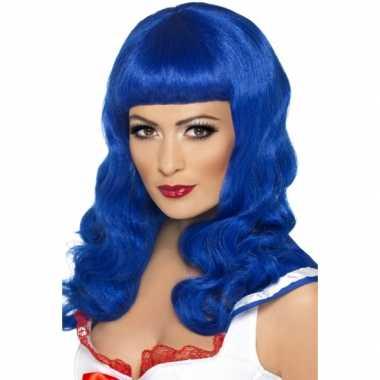 Lang haar pruik blauw met rechte ponycarnavalskleding