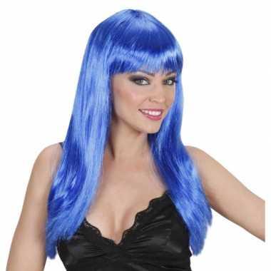 Lange blauwe pruik met stijl haarcarnavalskleding