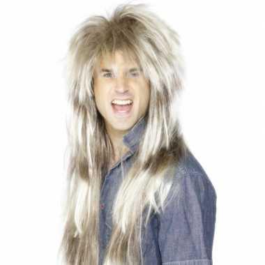 Lange blonde rocker pruikcarnavalskleding