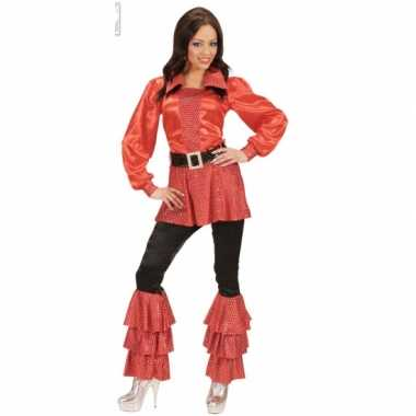 Lange dames shirts rood met paillettencarnavalskleding