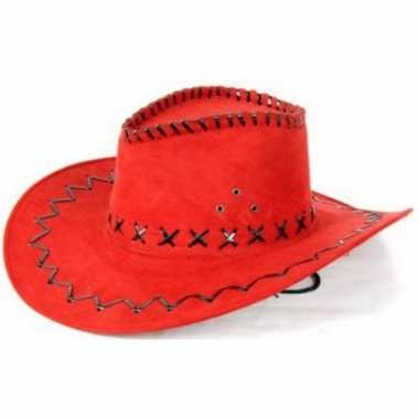 Lederlook cowboyhoeden rood voor volwassenencarnavalskleding