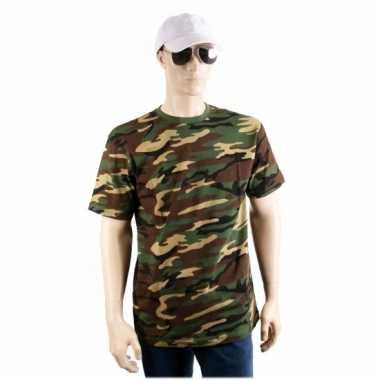 Legerprint t-shirt korte mouwen voor herencarnavalskleding
