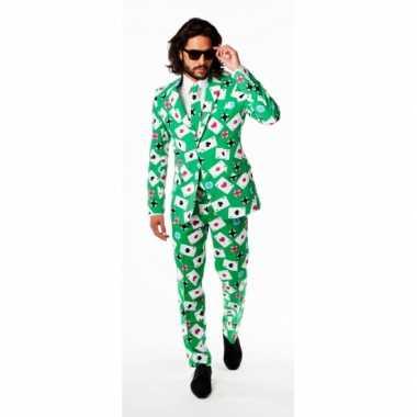 Luxe groen pak met kaarten printcarnavalskleding
