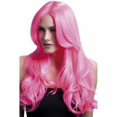 Luxe krullen pruik neon roze lange ponycarnavalskleding