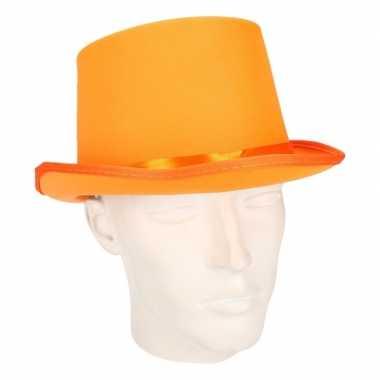 Luxe oranje hoge feesthoedcarnavalskleding
