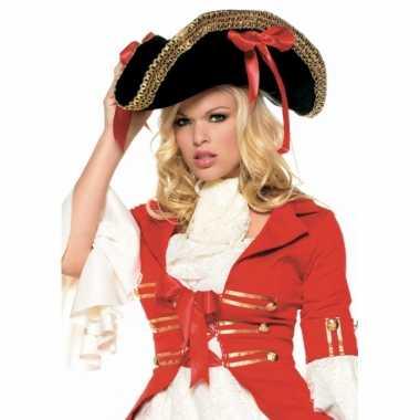Luxe piraten hoed met rode strikkencarnavalskleding