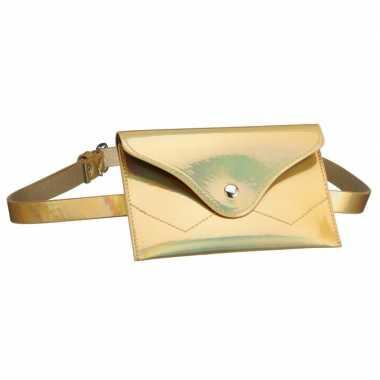 Metallic goud mini buideltasje aan riem voor damescarnavalskleding