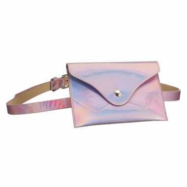 Metallic roze mini buideltasje aan riem voor damescarnavalskleding