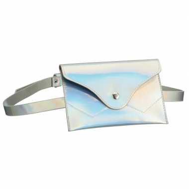 Metallic wit mini buideltasje aan riem voor damescarnavalskleding